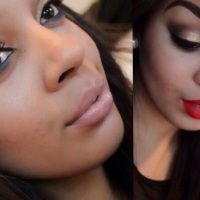 Christmas look #1: Gold & Blue eyes with Red or Nude lips